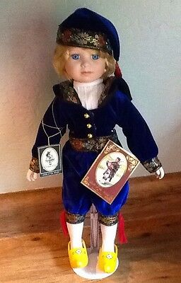 "Hans NETHERLANDS Dutch Blond Boy Doll Geppeddo Dolls of the World Porcelain 16"""