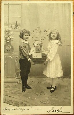 Dog in Basket & Two Children 1906 French Fantasy Postcard