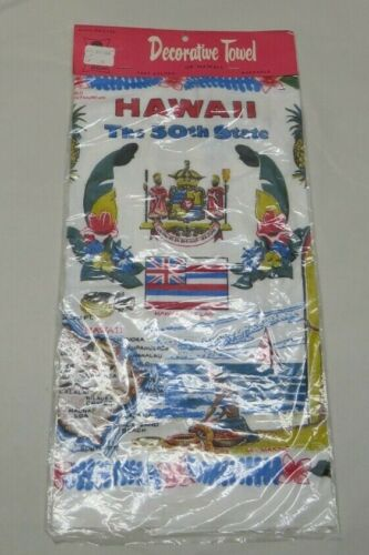 """Vintage """"Hawaii the 50th State"""" Linen Kitchen Towel Souvenir 30.5"""" x 16"""" NEW"""