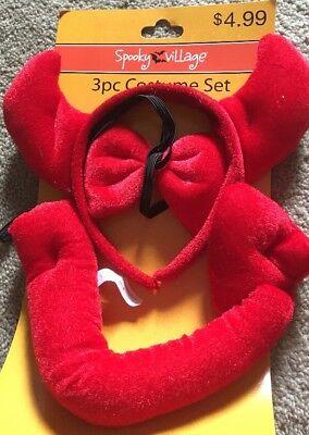 Cvs Halloween Costumes (CVS SPOOKY VILLAGE 3 PIECE RED DEVIL COSTUME SET BRAND NEW Tail Headband)