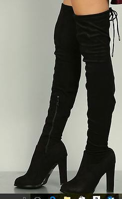 Thigh High Gogo Boots (Size 9 Black GOGO-13L DBDK Women Faux Suedette Thigh High Boots Very Sexy !)