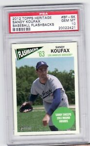 2012 Topps Heritage Baseball Flashbacks Sandy Koufax #BF-SK PSA 10 Pop 1/1