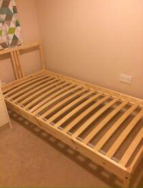 Single wooden bed & Warren Evans mattress RRP.£1,250