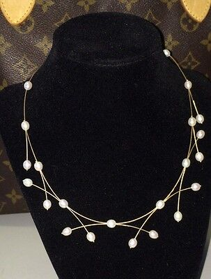 """VINTAGE 80's 14K Yellow Gold 7mm Genuine Pearl Illusion Necklace 17"""" 9.3 Grams"""
