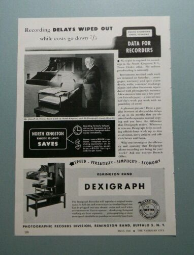 "1945 REMINGTON RAND DEXIGRAPH ""RECORDING DELAYS WIPED OUT..."" SALES ART AD"