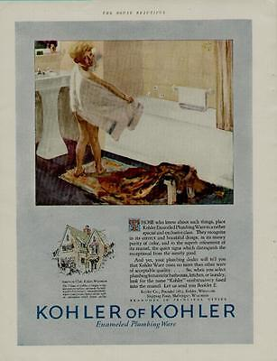 Cute Scene Boy (1925 KOHLER BATHROOM FIXTURES AD / CUTE BOY & BATHTUB)