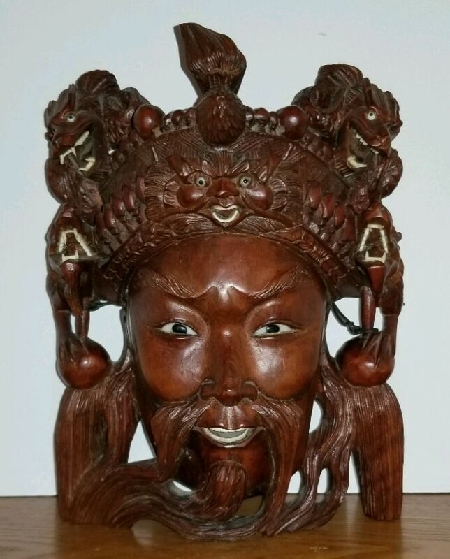 Vintage Antique Chinese Carved Wooden Mask Man and 4 Dragons.