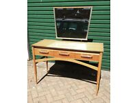 Vintage 50s 60s walnut dressing table desk mid century retro