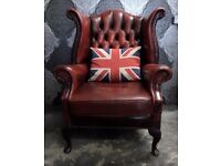 Beautiful Chesterfield Queen Anne Wing Back Chair Oxblood Red Leather UK Delivery