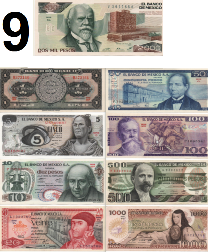 UNCIRCULATED MEXICO SET 9 BANKNOTES LOT 70'S 80'S 5 10 20 50 100 500 1000 pesos