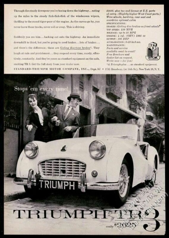 1957 Triumph TR3 TR-3 car photo Stops Em Every Time vintage print ad