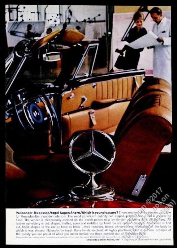1960 Mercedes Benz convertible car and hood star ornament color photo vintage ad