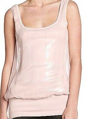 Bailey 44 Double Toil   Trouble Tank Top Sleeveless Silk Sequin Pink Blouse Xs