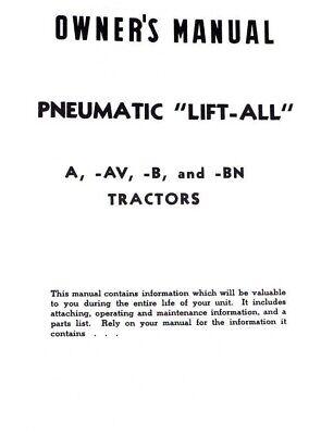 Pneumatic Lift-all Ih Farmall A B Av Ai Bn Exhaust Lift Operators Parts Manual