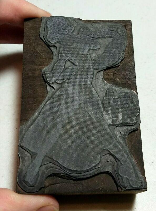 Vintage Letterpress Printing Block Naughty Risque Woman Performer Men Gawking