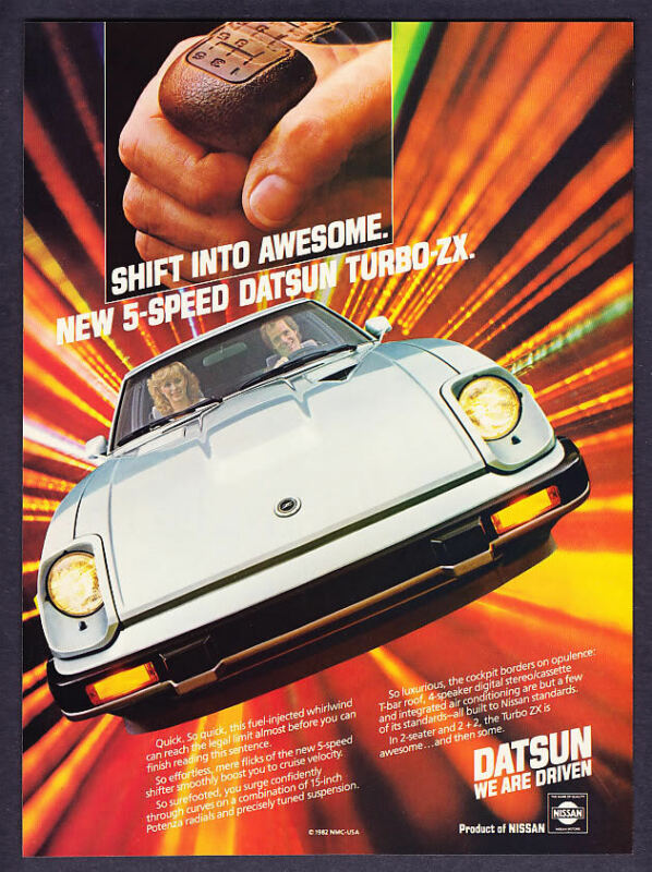 """1983 Datsun Turbo ZX Coupe photo """"Shift Into Awesome"""" vintage print ad"""