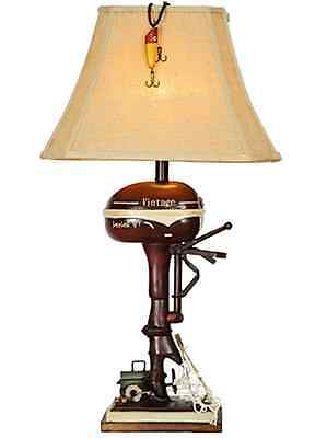 Rustic Vintage Table Lamp (Vintage Style Fishing Boat Outboard Motor Table Lamp Nautical Lake Rustic)