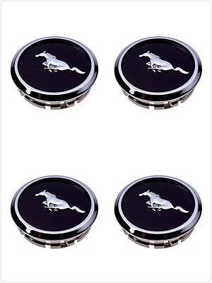 4X Mustang Wheel Center Hub Caps Covers Black Chrome Pony Emblem  2005-2014