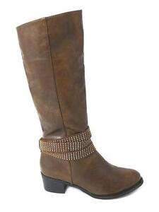 brown knee high womens boots flat heel leather look