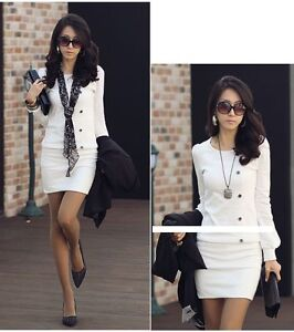 Women Round Crew Neck Long Sleeve Casual Mini Dress Black White Size 6-8 10 12