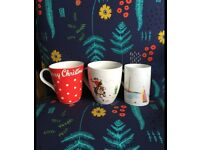 Set 3 China CATH KIDSTON cups/mugs.boats,polkadot spotty kitsch, vintage cowboy & horse,Christmas.