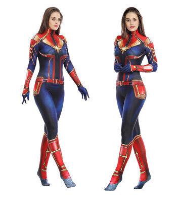 Captain Marvel Lycra Jumpsuit Carol Danver Cosplay Costume One-piece Bodysuit](Women Marvel Costume)
