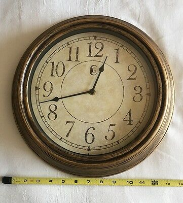 "Geneva Antique Wall Clock 13.5"" Plastic Distressed Brass Analog Quiet Operation"