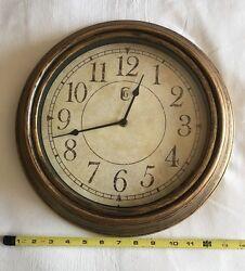 "Geneva Antique Wall Clock 13.5"" Plastic Distressed Brass Analog Quiet Operation"