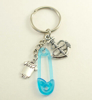 35 Nautical Anchor & Safety Pin Key chain Baby Shower Favors Gift Decoration