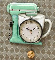 Retro Kitchen Mixer Pendulum Wall Clock Room Decor Vintage-Style
