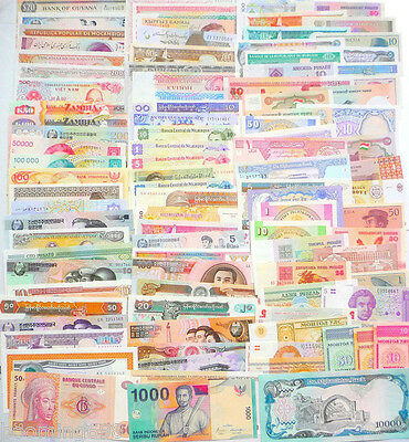 100 Different World Paper Money Collection, All Genuine and UNC, New Banknotes.