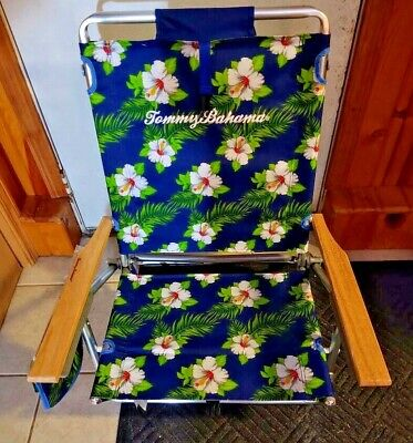Tommy Bahama Backpack Beach Chair Floral 5 Positions Wooden Arms 250lbs Lay Flat Layflat Beach Chair