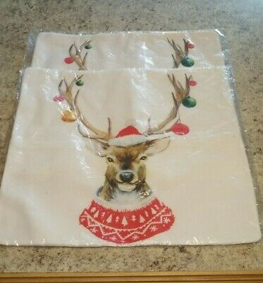 Christmas Red Reindeer Head Pillow Cover Case 16x16 Holiday 2 pieces w/ zipper