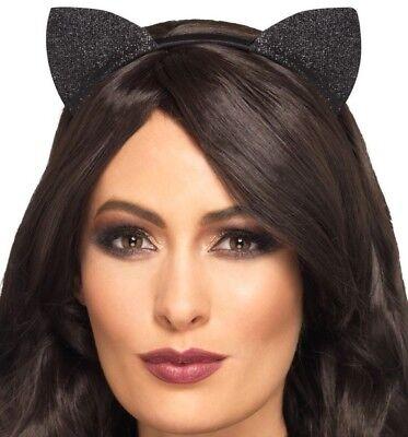 Kostüm Glitzer Vinyl Cat Ears auf Alice Band Schwarz von Smiffys (Cat Ohren Halloween Kostüme)