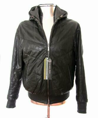 Armani Collezioni Puffer Leather Hooded Jacket £1650 EU52 Large Coat Quilted