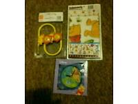 New winnie the Pooh wall stickers, clock and lion curtains hooks