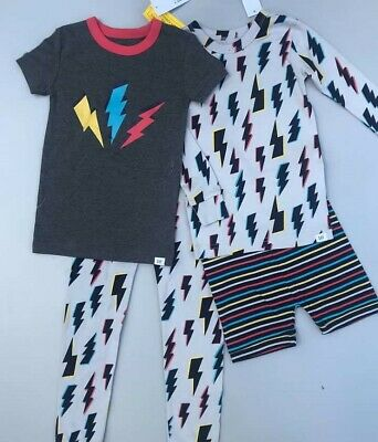 NEW BABY GAP Kids Boy's 2 Gray Striped PAJAMA PJ SETS Short & Long Sleeve 5 5T