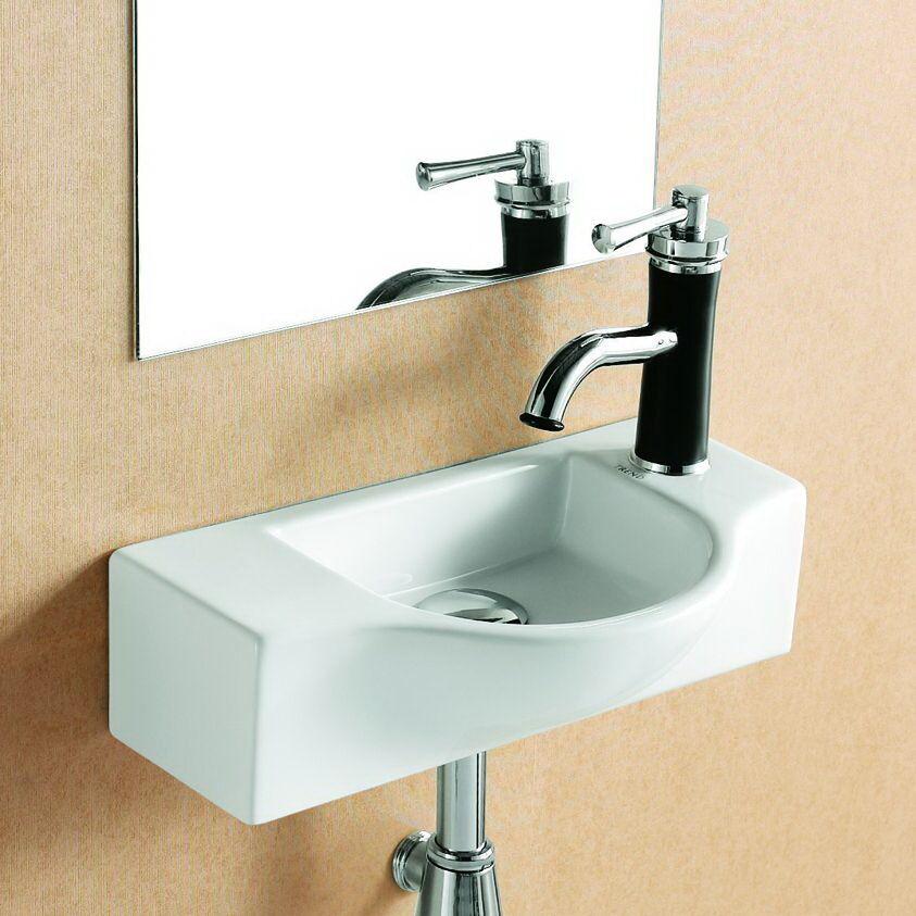 Gäste WC kleines Waschbecken Waschtisch Handwaschbecken Wandmontage 44 x 25 cm