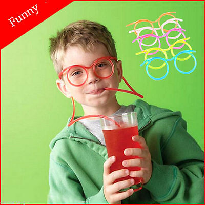 Novelty Flexible Soft Glasses Silly Drinking Straw Glasses For Kids Party Fun (Glasses Straw)