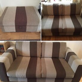 Two comfortable sofas & foot stool with storage open to offers.