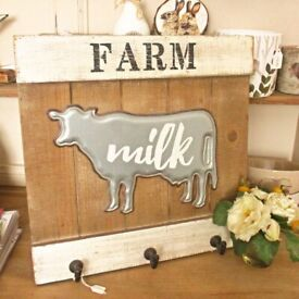 Wooden Farmhouse Milk plaque/hook