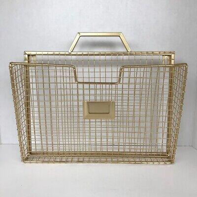 Wall Mount Folder File Gold Metal A4 Size Documents Storage Organizer