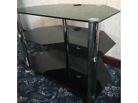 Glass black tv unit