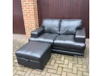 DFS Black Leather 2 Seater Sofa With Storage Footstool
