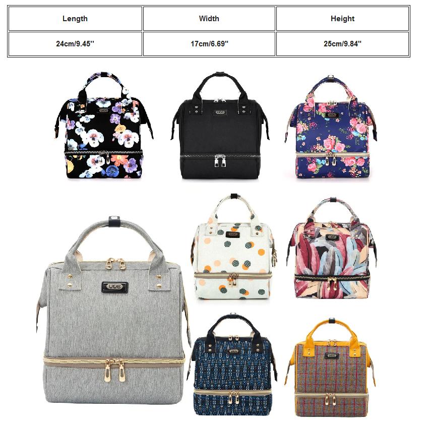 Women Floral Shoulder Handbag Backpack School Work Baby Sm D