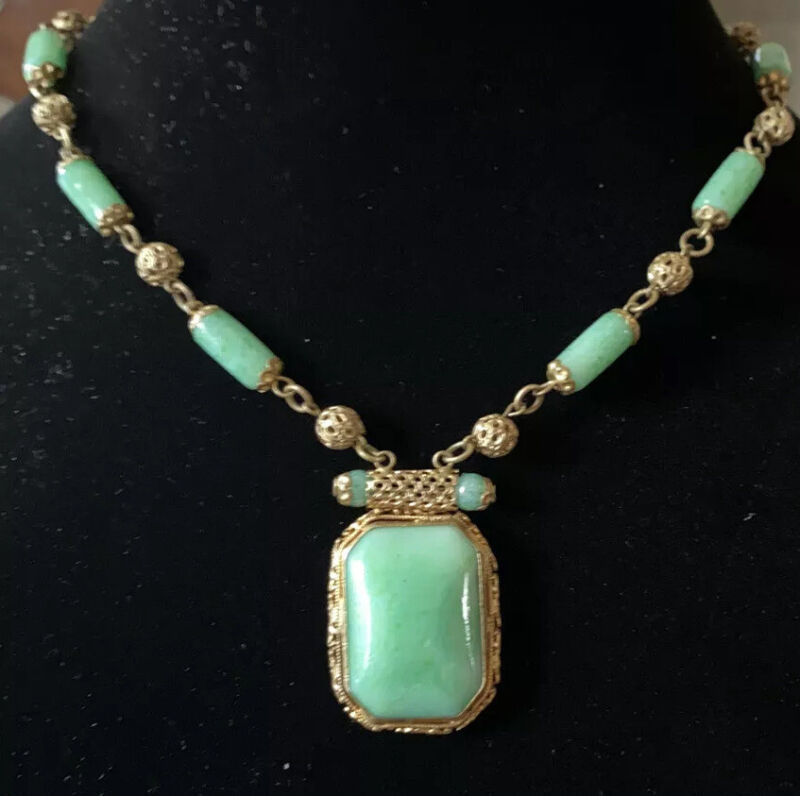 Vintage Art Deco Neiger Peking Glass & Brass Filigree Necklace