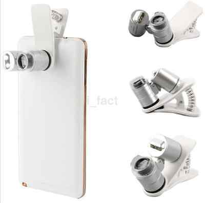 60X Zoom LED Clip-on Microscope Magnifier Micro Lens for iPhone 7 7 Plus Samsung