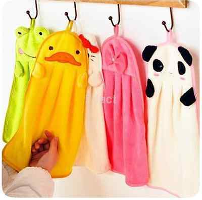 Hot~ Soft Plush Cartoon Animal Hanging Wipe Bathing Children Nursery Hand Towel