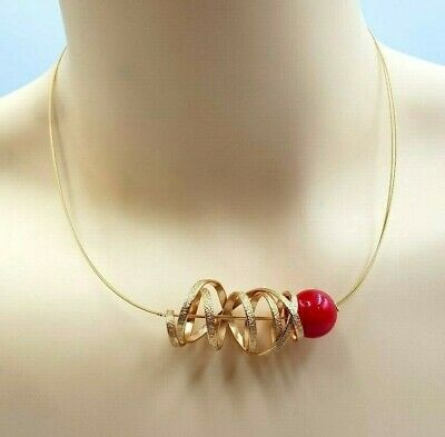 Modernist Gold Plated Antialergic Hand Made Catherine Bijoux (Greece) Necklace