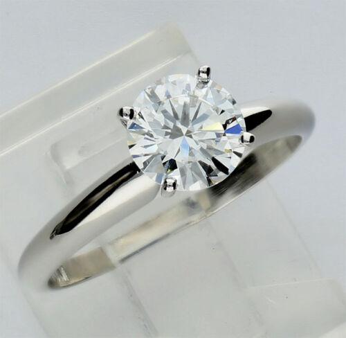 GIA platinum diamond solitaire engagement ring vg/vg/vg G round brilliant 1.01CT